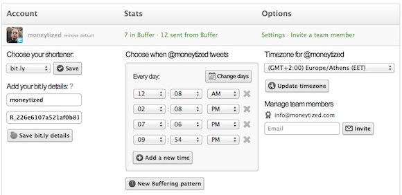 setting your bufferapp twitter account