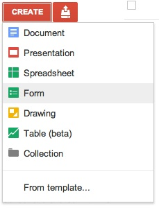 Google Docs: Creating a new survey