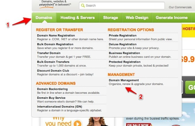 godaddy: finding the domain management screen