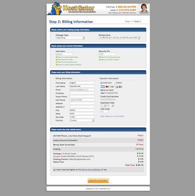 hostgator account info